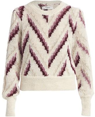 Etoile Isabel Marant Glenny Chevron Stripe Wool, Alpaca & Linen-Blend Sweater