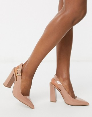 ASOS DESIGN Planet slingback high block heels in warm beige patent