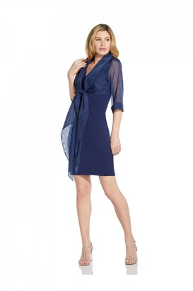 Adrianna Papell Organza And Crepe Jacket Dress
