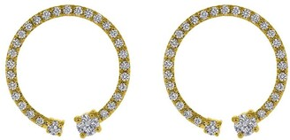 KatKim 18kt yellow gold Lorraine pave diamond earrings