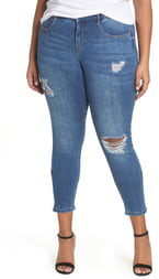 YSJ Zip Ankle Distressed Skinny Jeans