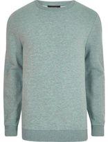 River Island Mens Light green marl crew neck sweatshirt