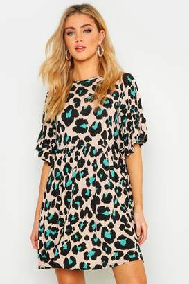 boohoo Coloured Leopard Printed Smock Dress