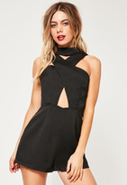 Missguided Black Crepe Cross Front Choker Romper