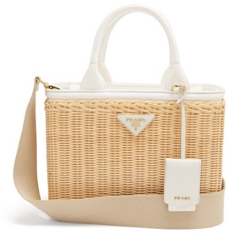 Prada Canvas And Wicker Shoulder Bag - Beige White