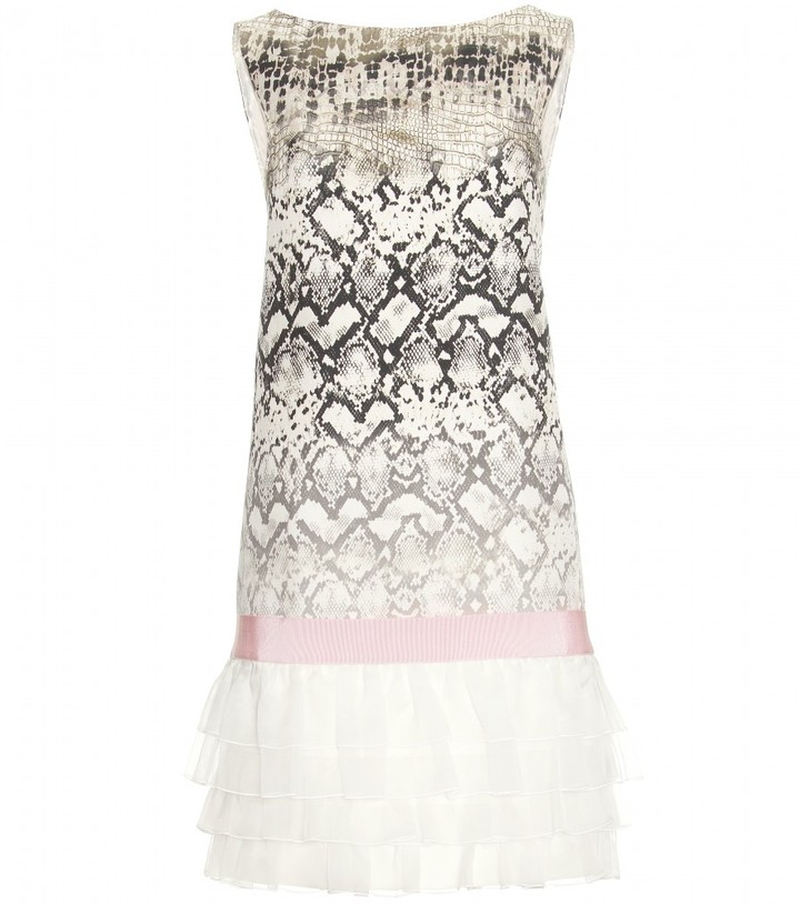 Giambattista Valli PRINT SHIFT DRESS WITH RUFFLED TRIM