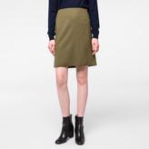 Paul Smith Women's Olive Green Merino Wool Skirt