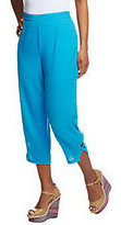 As Is Susan Graver Solid Cotton Pull-on Crop Pants with Lattice Detail