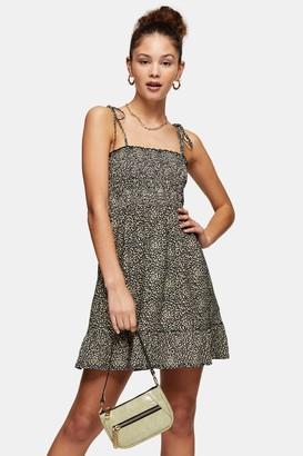 Topshop Womens Stone Animal Print Shirred Flippy Dress - Stone
