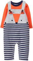 Gymboree Orange & Gray Fox Appliqué Overalls & Tee - Infant