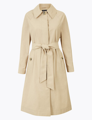 Marks and Spencer Cotton Rich Longline Belted Trench Coat