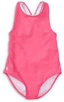 Ralph Lauren Girls 2-6x Cross-Back One-Piece Swimsuit