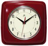 "Infinity Instruments 9"" Square Retro Decorative Clock Red"