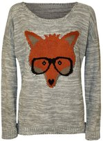 JanisRamone Womens Fox With Glasses Printed Knitted Jumper Long Sleeve Stretch Sweater Top