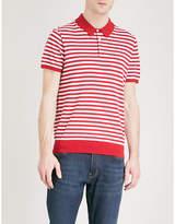 Michael Kors Striped silk and cotton-blend polo shirt