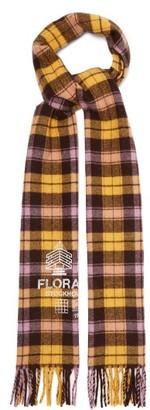 Acne Studios Logo-print Check Wool-blend Twill Scarf - Yellow