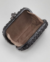 Bottega Veneta Woven Lambskin Knot Minaudiere Clutch, Black