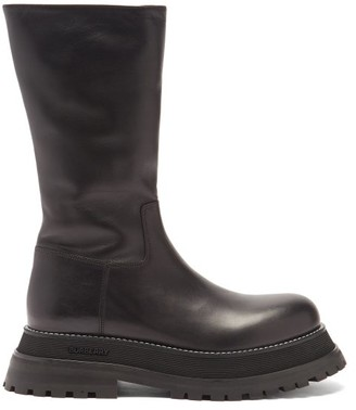 Burberry Jeffy Flatform-sole Leather Boots - Black