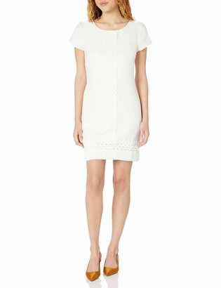 Robbie Bee Women's Knit Cap Sleeve Shift Dress with Boarder Detailing