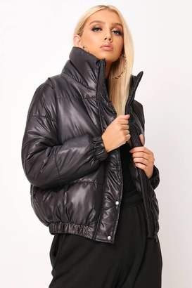 I SAW IT FIRST Black High Shine Padded Coat