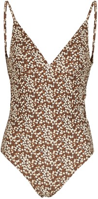 Matteau The Plunge Floral-print Swimsuit