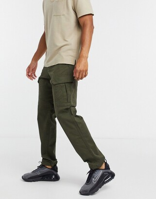 Jack and Jones Intelligence loose fit cargos in khaki