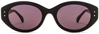 Alaia Rectangular Sunglasses in Shiny Black & Grey | FWRD
