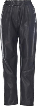 Leal Daccarett Cocoa Fitted Leather Pants
