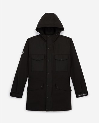 The Kooples Hooded long black parka with pockets