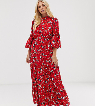 Vila floral high neck tiered maxi dress