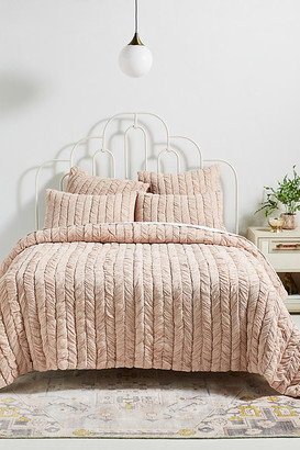 Anthropologie Ruched Voile Vienna Quilt By in Pink Size Q top/bed