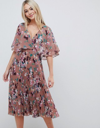Asos DESIGN flutter sleeve midi dress with pleat skirt in floral print
