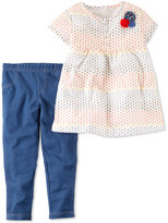 Carter's 2-Pc. Dot-Print Babydoll Tunic and Denim Leggings Set, Baby Girls (0-24 months)