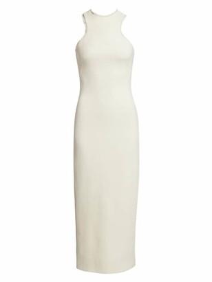 Brandon Maxwell Fringe-Trimmed Racerback Wool Sheath Dress