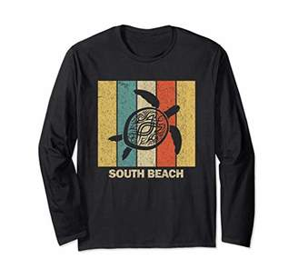 South Beach Miami Retro 80s Tribal Sea Turtle Long Sleeve T-Shirt