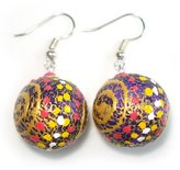 Idin Jewellery - Handpainted spiral and multi-coloured dots sphere handmade earrings (mango wood)