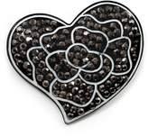 Avalaya 'White Rose In The Crystal Heart' Brooch (Gun Metal)