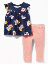 Old Navy Flutter-Sleeve Top & Jersey Pants Set for Baby