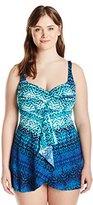 Karen Kane Women's Plus Size Ikat Waterfall Seychelles Dress One Piece Swimsuit