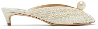 Jimmy Choo Samantha 35 Faux Pearl-embellished Mules - Cream