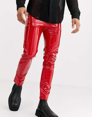 Asos Design DESIGN cropped skinny leather look jeans in red