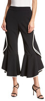 Jonathan Simkhai Crepe Ruffle Kick-Flare Cropped Pants, Black/Ivory