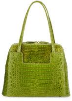 Nancy Gonzalez Crocodile Zip-Around Medium Satchel Bag, Green