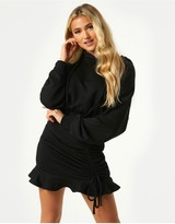 Thumbnail for your product : Little Mistress Sohan Black Ruched Hoodie Sweatshirt Dress