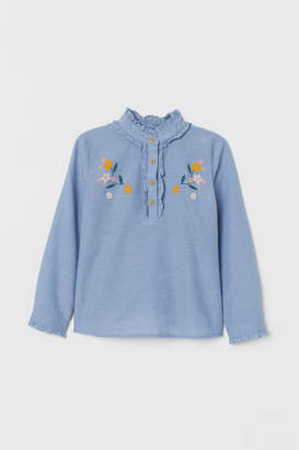H&M Blouse with Ruffle - Blue
