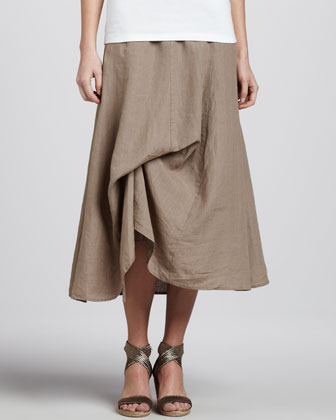 Eileen Fisher Handkerchief Linen Cinchable Long Skirt