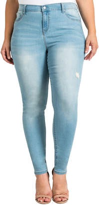 Standards & Practices Plus Size Hi Wire Soft Distressing Cropped Ankle Jeans