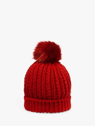 Phase Eight Caris Cable Knit Hat, Red