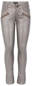DKNY Taupe Faux-Leather Trousers