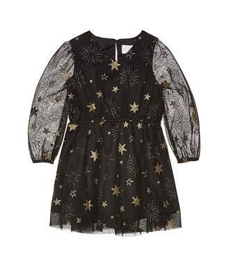 BCBGMAXAZRIA Girls Foil Printed Mesh Dress (Toddler/Little Kids)